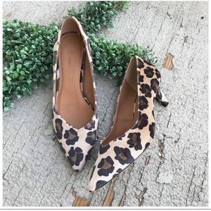 ASOS Animal Print Velvet Pointed Toe Kitten Heels
